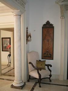 dark emprador marble column